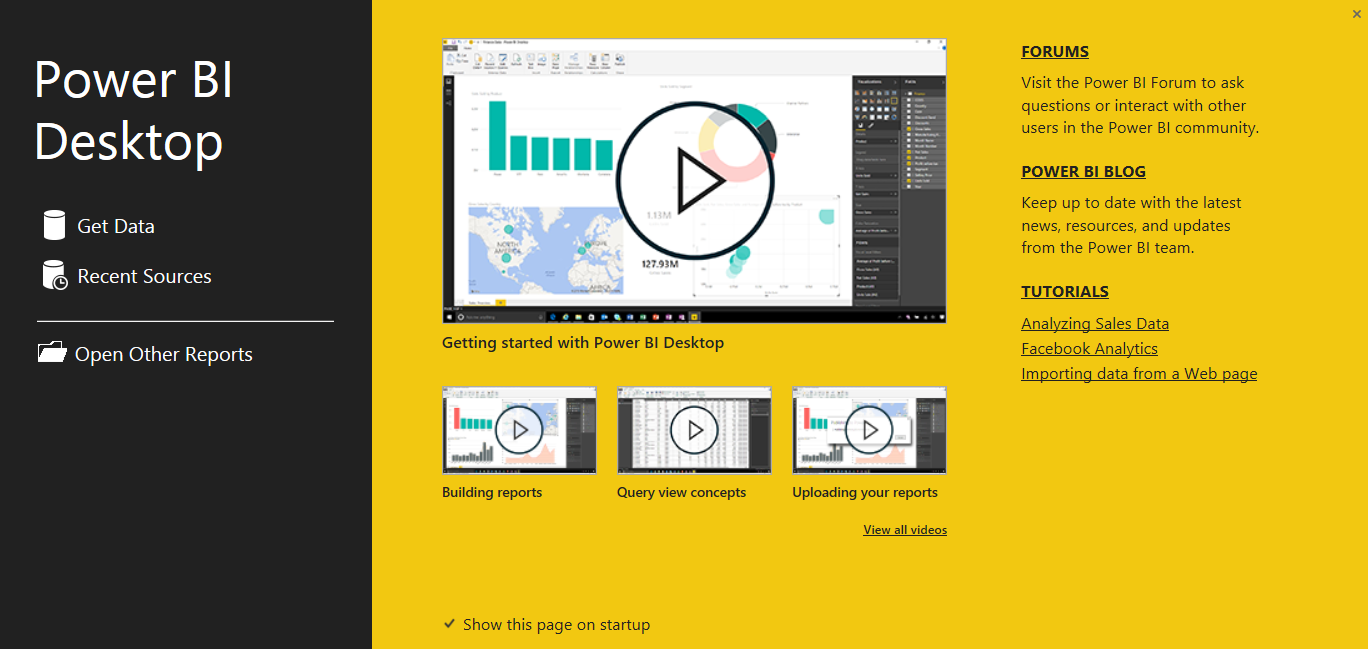 Power BI Desktop - Startup Screen